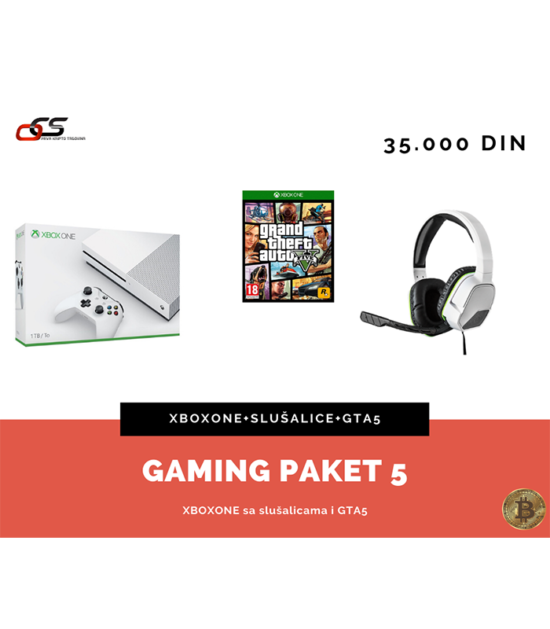 Gaming paket 5 - XBOXONE+GTA 5+AfterGlow slušalice