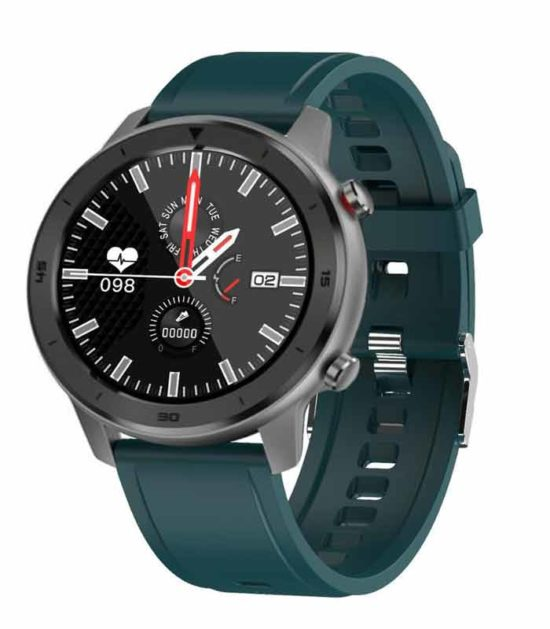 DT78 Turquoise Silicone Strap - Silver Watch sivi pametni sat
