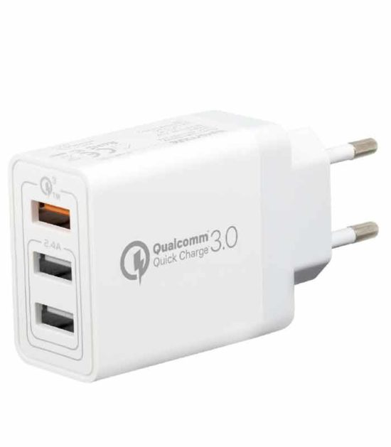 PROMATE Triport-QC punjač BRZO PUNJENJE triple USB beli