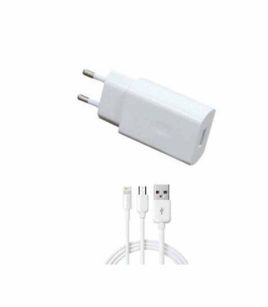 Punjač za iPhone uređaje 5V/2A Fast micro USB + Iphone 1.2m beli
