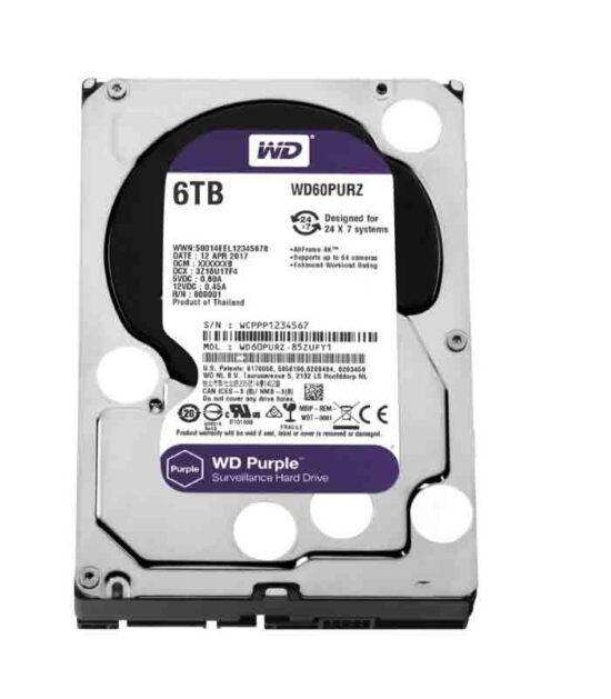 """WD 6TB 3.5"""" SATA III 64MB IntelliPower WD60PURZ Purple"""