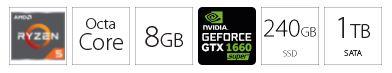PC desktop računar AMD Ryzen 5 3500X 8GB 240GB 1TB GTX1660S 6GB