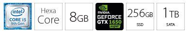 Desktop računar PC INTEL i5-9500 8GB 256GB 1TB GTX1650S 4GB