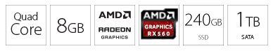 PC desktop računar INTEL i3-9100F 8GB 240GB 1TB AMD560 4GB