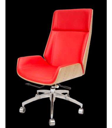 Kancelarijska fotelja Nordic Visoki naslon Hrast/Crvena