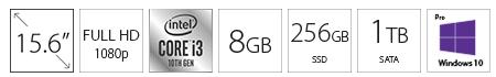DELL Vostro 3501 15.6 FHD i3-1005G1 8GB 1TB 256GB SSD Win10Pro crni