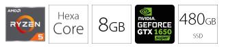 PC desktop računar AMD Ryzen 5 1600 8GB 480GB GTX1650S 4GB