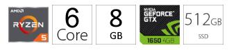 PC desktop računar AMD Ryzen 5 2600 8GB 512GB GTX1650 4GB