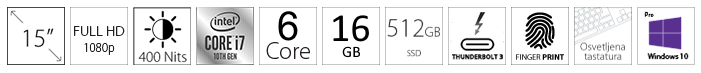 DELL Latitude 9510 15 FHD 400nits i7-10810U 16GB 512GB SSD
