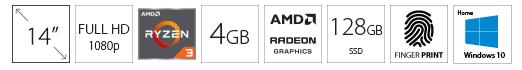 GATEWAY GWTN141 14 FHD AMD Ryzen 3 3200U 4GB 128GB SSD plavi