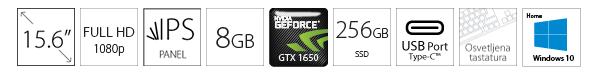 HP Pavilion 15-DK0096 15.6 FHD i5-9300H 8GB 256GB SSD GeForce GTX 1650 4GB