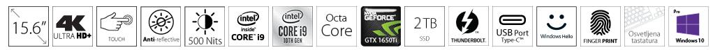 DELL XPS 9500 15.6 UHD+ Touch 500nits i9-10885H 64GB 2TB SSD GeForce GTX 1650Ti 4GB