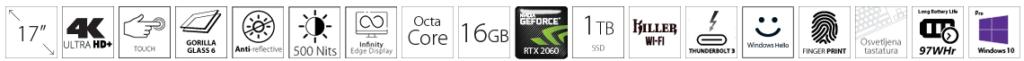 DELL XPS 9700 17 4K UHD+ Touch 500nits i7-10875H 16GB 1TB SSD GeForce RTX 2060 6GB