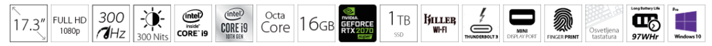 DELL G7 7700 17.3 FHD 300Hz 300nits i9-10885H 16GB 1TB SSD GeForce RTX 2070 SUPER 8GB