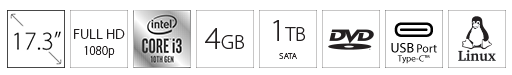 DELL Inspiron 3793 17.3 FHD i3-1005G1 4GB 1TB ODD crni