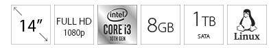 DELL Vostro 3401 14 FHD i3-1005G1 8GB 1TB crni 5Y5B
