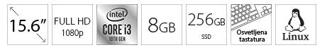 DELL Vostro 3501 15.6 FHD i3-1005G1 8GB 256GB SSD