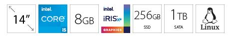 DELL Vostro 3400 14 i5-1135G7 8GB 256GB SSD 1TB Intel Iris Xe