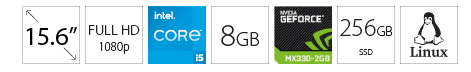 DELL Vostro 3500 15.6 FHD i5-1135G7 8GB 256GB SSD GeForce MX330 2GB