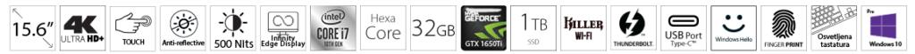 DELL XPS 9500 15.6 UHD+ Touch 500nits i7-10750H 32GB 1TB SSD GeForce GTX 1650Ti 4GB