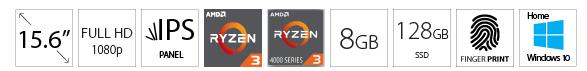 ACER OEM Aspire A515 15.6 FHD AMD Ryzen 3 4300U 8GB 128GB SSD Win10Home silver