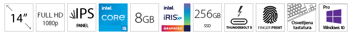 DELL Latitude 5420 14 FHD i5-1135G7 8GB 256GB SSD Intel Iris Xe Backlit FP SC Win10Pro