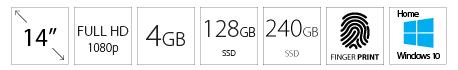 GATEWAY GWTN141 14 FHD AMD Ryzen 3 3200U 4GB 128GB 240GB SSD