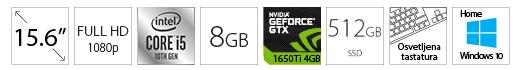 DELL OEM G3 3500 15.6 FHD 120Hz i5-10300H 8GB 512GB SSD GeForce GTX 1650Ti 4GB