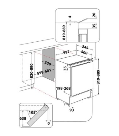 WHIRLPOOL ARG 585/A+ Ugradni potpultni frižider