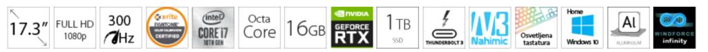 GIGABYTE AERO 17KC 17.3 FHD 300Hz i7-10870H 16GB 1TB SSD GeForce RTX 3060P 6GB Win10Home