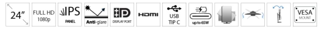 DELL 23.8 P2419HC USB-C Professional IPS monitor