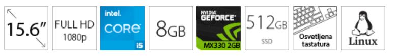 DELL Vostro 5502 15.6 FHD i5-1135G7 8GB 512GB SSD GeForce MX330 2GB Backlit sivi