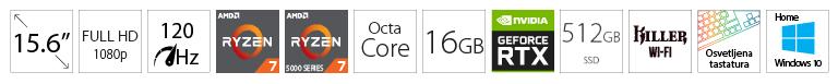 DELL G15 5515 15.6 FHD 120Hz 250nits AMD Ryzen 7 5800H 16GB 512GB SSD GeForce RTX 3060 Win10Home sivi