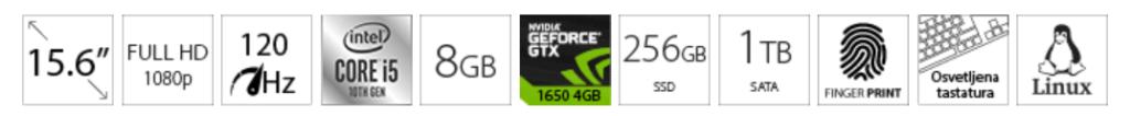 DELL G3 3500 15.6 FHD 120Hz i5-10300H 8GB 256GB SSD 1TB GeForce GTX 1650 4GB