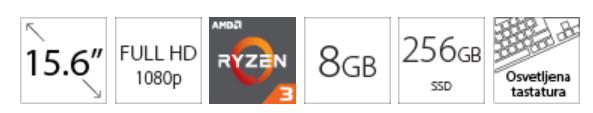 ACER Aspire A515 15.6 FHD Ryzen 3 5300U 8GB 256GB SSD Backlit srebrni